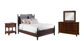 Passages Collection 14BO7024PW4PCQPSMDDLM1DNKIT1 4-Piece Bedroom Sets with Queen Poster Bed, Dresser, Mirror and Nightstand in Akzo Nobel