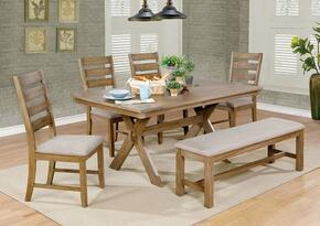 Xochil Collection CM3171T4SCBN 6-Piece Dining Room Set with Rectangular Table, 4 Side Chairs and Bench in Weathered Natural Tone Finish
