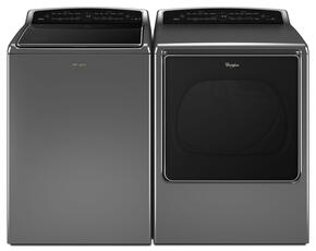 "Cabrio Chrome Shadow Top Load Laundry Pair with WTW8700EC 28"" Washer and WGD8700EC 29"" Gas Dryer"