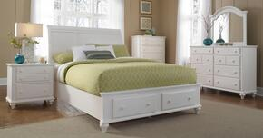 Hayden Place Collection 4 Piece Bedroom Set With king Size Storage Sleigh Bed + 1 Nightstands + Dresser + Mirror: White