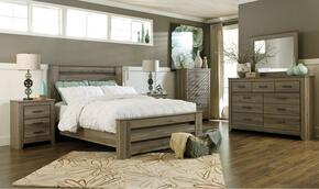 Zelen Queen Bedroom Set with Poster Bed, Dresser, Mirror and Nightstand in Warm Grey