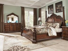 Ledelle Collection King Bedroom Set with Poster Bed, Dresser and Mirror in Dark Cherry