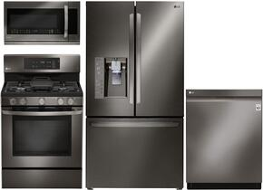 4-Piece Black Stainless Steel Kitchen Package with LFXC24726D 36