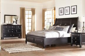 Greensburg Queen Bedroom Set with Storage Bed, Dresser, Mirror and Nightstand in Black