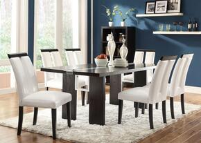1045614CH Kenneth Rectangular LED Light Dining Table + 4 Chairs with Wide Legs and Wood Veneers & Solids Construction in Black Finish