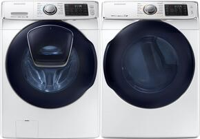 "White Front Load Laundry Pair with WF45K6500AW 27"" Washer and DV45K6500EW 27"" Electric Dryer"