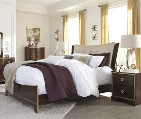 Lenmara Queen Bedroom Set with Panel Bed and Single Nightstand in Reddish Brown