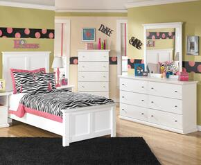Melton Collection Twin Bedroom Set with Panel Bed, Dresser, Mirror and Chest in White