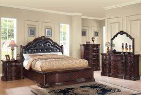 Veradisia 20626EK5PC Bedroom Set with Eastern King Size Bed + Dresser + Mirror + Chest + Nightstand in Dark Cherry Finish