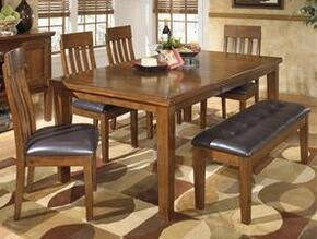 Ariel Collection DR-421-RECDT4SCB Ralene Rectangular Butterfly Extension Table with Four Chairs, One Bench, Planked Design, Acacia Veneers and Hardwood Solids in Dark Brown