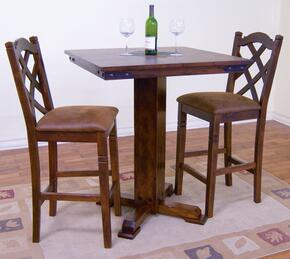 Santa Fe Collection 1232DCBT2BS 3-Piece Bar Table Set with Pub Table and 2 Stools in Dark Chocolate