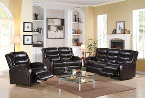 Noah Collection 50830SLR 3 PC Living Room Set with Sofa + Loveseat + Rocker Recliner in Espresso Color