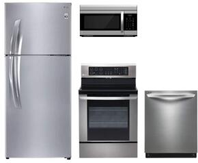 """4-Piece Stainless Steel Kitchen Package with LTNS16121V 30"""" Top Freezer Refrigerator, LRE3061ST 30"""" Electric Freestanding Range, LDF7774ST 24"""" Fully Integrated Dishwasher  and LMV1683ST 30"""" Over the Range Microwave"""