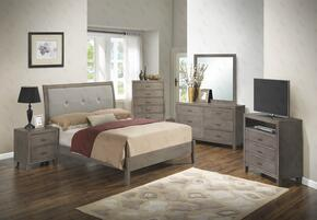 G1205AFBCHDMNTV 6 Piece Set including Full Bed, Chest, Dresser, Mirror, Nightstand and Media Chest in Grey