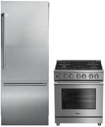 "2 Piece Kitchen Package With BDFP34550SS 30"" Slide-in Gas Range and BRFD2652SS 36"" French Door Refrigerator In Stainless Steel"
