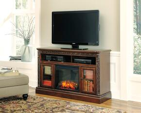 "North Shore W553W2 60"" Wide Large TV Stand with W100-01 Fireplace Insert in Dark Brown Finish"