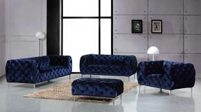 Mercer Collection 646-NAVY-S-L-C-O 4 Piece Living Room Set with Sofa + Loveseat + Chair and Ottoman in Navy