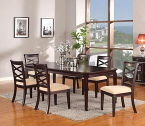 Beale Collection 70215SET 7 PC Dining Room Set with Dining Table + 6 Side Chairs in Espresso Finish