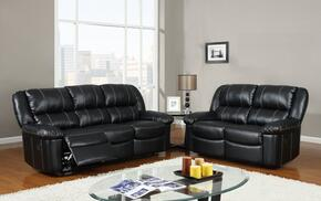 U9966-Black-SL 2 Piece Bonded Leather Reclining Livingroom Set in Black, Sofa + Loveseat