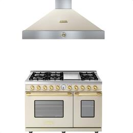 2-Piece Cream Matte with Gold Accent Kitchen Package with RD482SCCG 48