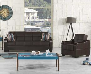 Uptown Collection UCSBACBNL Package Containing Sofa Bed and Convertible Armchair with Storage Under the Seat, Curved Wood-like Arms, Polished Metal Accents and Tufted Detailing Upholstered in Brown Pu-Leatherette