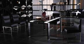 VGUN89305PCSET Armani Xavira Collection 5 Piece Dining Set With Glass Top Dining Table with Butterfly Extension + 4 Leatherette Chairs: Black