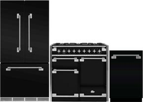 """3-Piece Black Kitchen Package with MELFDR23BLK 36"""" French Door Refrigerator, AEL48DFBLK 48"""" Freestanding Dual Fuel Range, and AELTTDWBLK 24"""" Fully Integrated Dishwasher"""