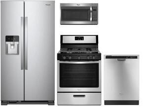 "4 Piece Kitchen package With WFG505M0BS 30"" Gas Range, WMH31017FS Over The Range Microwave, WRS325FDAM 36"" Side By Side Refrigerator and WDF520PADM 24"" Built In Dishwasher In STainless Steel"