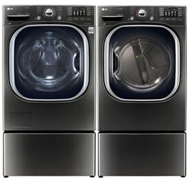 "Black Stainless Steel Front Load Laundry Pair with WM4370HKA 27"" Washer, DLEX4370K 27"" Electric Dryer, and 2 WDP4K Laundry Pedestals"