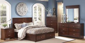 00060WSBDMNC Kensington 5 Piece Bedroom Set with California King Storage Bed, Dresser, Mirror, Nightstand and Chest, in Burnished Cherry