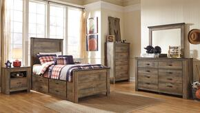 Trinell Twin Bedroom Set with Panel Bed with Drawers, Dresser, Mirror, 2 Nightstands and Chest in Brown