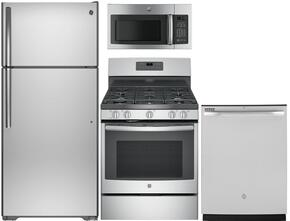 "4-Piece Stainless Steel Kitchen Package with GTS16GSHSS 28"" Top Freezer Refrigerator, JGB660SEJSS 30"" Freestanding Gas Range, GDF510PSJSS 24"" Full Console Dishwasher and GDF510PSJSS 30"" Over-the-Range Microwave"