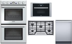 "4-Piece Stainless Steel Kitchen Package with PODC302J 30"" Double Wall Oven, MES301HP 24"" Single Steam Convection Wall Oven, SGSX365FS Masterpiece 36"" Gas Cooktop and DWHD651JFP 24"" Fully Integrated Dishwasher"