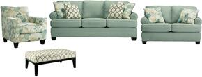 Daystar Collection 28200SLCO 4-Piece Living Room Set with Sofa, Loveseat, Accent Chair and Ottoman in Seafoam