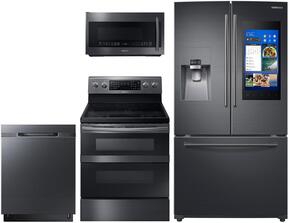 "4-Piece Black Stainless Steel Kitchen Package with RF265BEAESG 36"" French Door Refrigerator, NE59M6850SG 30"" Electric Range, DW80M9550UG 24"" Fully Integrated Dishwasher and ME21K7010DG 30"" Over-the-Range Microwave"