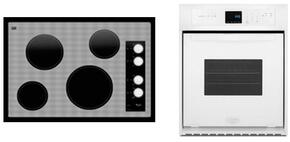 "2-Piece Kitchen Package with W5CE3024XW 30"" Electric Cooktop and WOS51ES4EW 24"" Electric Single Wall Oven in White"