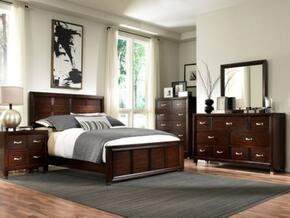 Eastlake 2 Collection 5 Piece Bedroom Set With Queen Size Panel Bed + 2 Nightstands + Dresser + Mirror: Brown Cherry