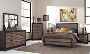 Harlinton Queen Bedroom Room Set with Panel Bed, Dresser, Mirror and Night Stand in Warm Grey and Charcoal Finish