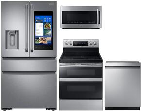 "4-Piece Stainless Steel Kitchen Package with RF23M8590SR 36"" French Door Refrigerator, NE59M6850SS 30"" Electric Range, DW80M9550US 24"" Fully Integrated Dishwasher and ME21K7010DS 30"" Over-the-Range Microwave"
