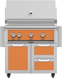 "36"" Freestanding Liquid Propane Grill with GCR36OR Tower Grill Cart with Triple Doors, in Citra Orange"