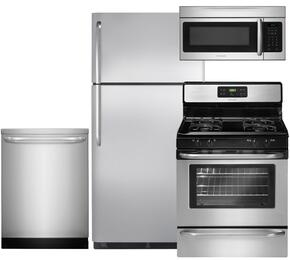 "4-Piece Stainless Steel Kitchen Package with FFTR18G2QS 30"" Top Freezer Refrigerator, FFGF3053LS 30"" Freestanding Gas Range, FFID2423RS 24"" Fully Integrated Dishwasher and FFMV164LS 30"" Over-The-Range Microwave"