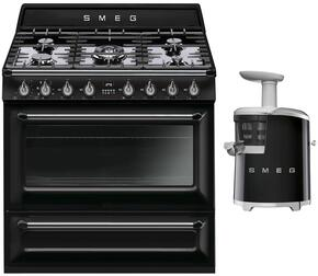 "2-Piece Black Kitchen Package with TRU90BL 36"" Freestanding Dual Fuel Range and SJF01BLUS 7"" Slow Juicer"