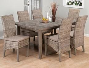 856-72SET7871 Solid Oak Fixed Top Dining Table with 6 Rattan Chairs