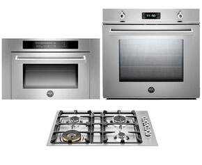 "Professional Series F30PROXT 30"" Single Electric Wall Oven 3-Piece Stainless Steel Kitchen Package with QB30400X 30"" Gas Cooktop and SO24PROX Built-In Microwave"