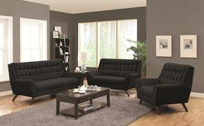 Natalia 503774SLC 3 PC Living Room Set with Sofa + Loveseat + Chair in Black Color