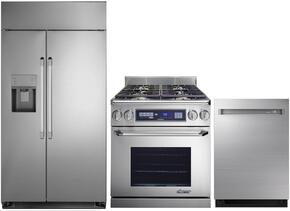 "3-Piece Stainless Steel Kitchen Package with DYF42SBIWS 42"" Side by Side Refrigerator, ER36DCLP 36"" Freestanding Dual Fuel Range, and DDW24M999US 24"" Fully Integrated Dishwasher"