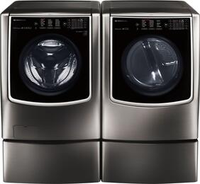 Black Stainless Steel Washer and Dryer Package with WM9500HKA Washer, DLGX9501K Gas Dryer and 2 WDP5K Pedestal