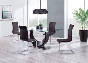 D2185DT4D991DC 5-Piece Dining Room Set with Dining Table and 4 Dining Chairs in Wenge and Chocolate Brown