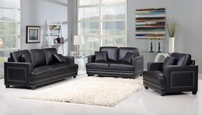 Ferrara Collection 654-BL-S-L-C 3 Piece Living Room Set with Sofa + Loveseat and Chair in Black