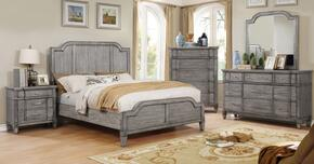 Ganymede Collection CM7855EKBEDSET 5 PC Bedroom Set with Eastern King Size Panel Bed + Dresser + Mirror + Chest + Nightstand in Grey Finish